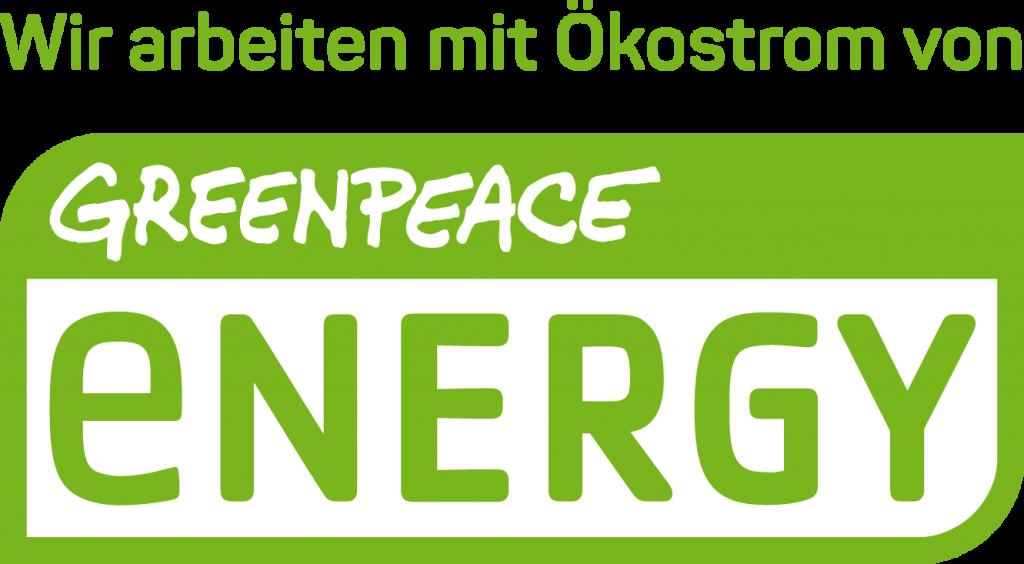 Wir arbeiten mit Ökostrom von Greenpeace Energy